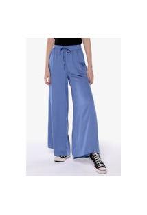 Calça Pantalona Wide Leg Cintura Alta Sob Com Bolsos Azul Clara