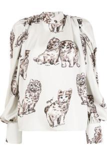 Msgm Cat Print Blouse - Neutro