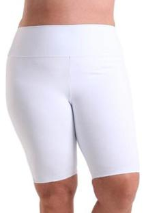 Bermuda Líquido Plus Size Cores Feminina - Feminino-Branco