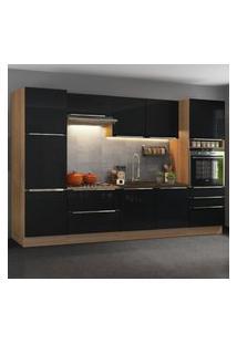 Cozinha Completa Madesa Lux Com Armário E Balcáo 9 Portas 5 Gavetas - Rustic/Preto Marrom