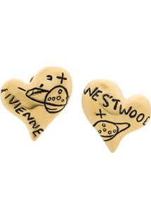 Vivienne Westwood Par De Brincos 'Heart' - Metálico