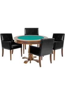 Mesa De Jogos Carteado Victoria Redonda Tampo Reversível Amêndoa Com 4 Cadeiras Liverpool Corino Preto Liso - Gran Belo