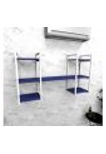 Estante Industrial Escritório Aço Cor Branco 120X30X68Cm (C)X(L)X(A) Cor Mdf Azul Modelo Ind27Azes