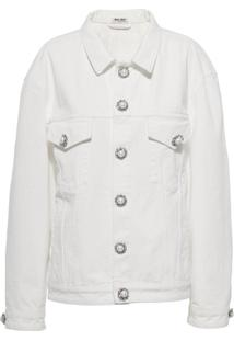 Miu Miu Jaqueta Jeans Com Abotoamento - Branco