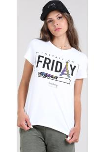 Blusa Feminina Com Estampa Friday Manga Curta Decote Redondo Off White