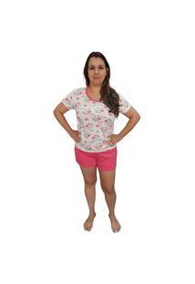 Pijama Feminino Baby Doll Camiseta E Short Estampa Ursinha Branco
