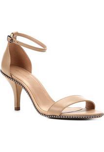 Sandália Couro Shoestock Salto Fino Glam Feminina - Feminino-Bege