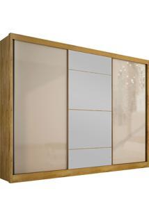 Guarda-Roupa Casal Com Espelho 3 Portas E 8 Gavetas Natus Gold -Novo Horizonte - Freijo Dourado / Off White