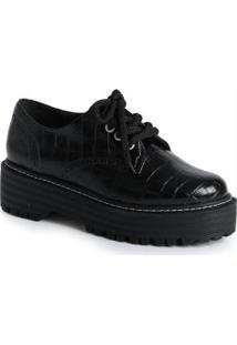Sapato Feno Oxford Croco Preto Preto