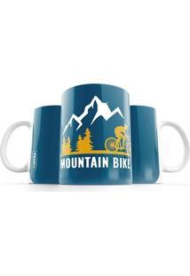 Caneca Punnto Mountain Bike - Unissex-Azul+Amarelo