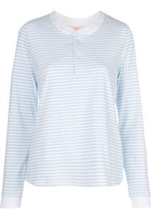 Morgan Lane Pijama Kaia Com Estampa Listrada - Azul
