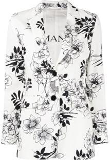 Ermanno Ermanno Blazer Com Abotoamento Simples E Estampa Floral - Branco