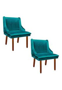 Kit 02 Cadeira Sala De Jantar Liz Acetinado Azul Turquesa - D'Rossi