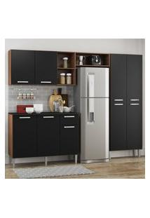 Cozinha Completa Compacta Pequim Up Multimóveis Com Balcáo -Madeirado Com Preto