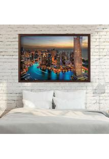 Quadro Love Decor Com Moldura New Dubai Madeira Escura Grande