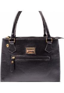 Bolsa Couribi Couro Legítimo Alça Transversal Mini Bag Repartições - Feminino-Preto