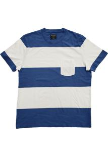 Camiseta Abercrombie & Fitch Masculina Colorblock Pocket Blue/ White