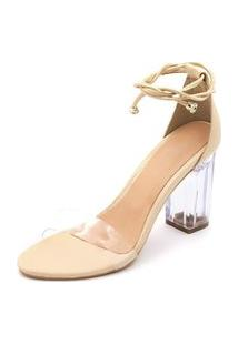 Sandalia Salto Alto Feminino Confort Nude