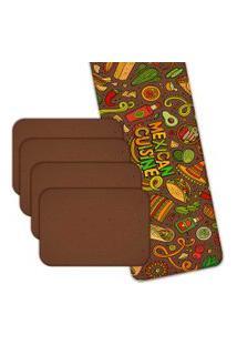 Jogo Americano Love Decor Com Caminho De Mesa Mexican Cuisne Kit Com 4 Pçs + 1 Trilho Multicolorido