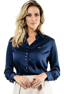 a607ab0b91 ... Camisa Azul Marinho Feminina De Cetim Principessa Jussara