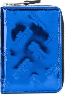 Maison Margiela Carteira De Couro Com Logo Em Relevo - Azul