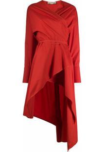Gentry Portofino Vestido Envelope Assimétrico - Vermelho