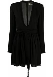Saint Laurent Vestido Com Decote Profundo - Preto