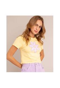 Camiseta Cropped Com Margarida Estampada Xadrez Vichy Manga Curta Decote Redondo Amarelo Claro