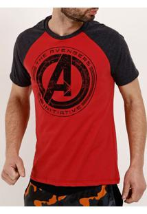 Camiseta Manga Curta Masculina Marvel Chumbo/Vermelho