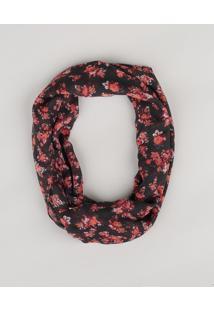Lenço Estampado Floral Preto - Único