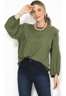 Blusa De Crepe Verde