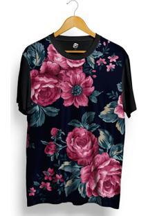 Camiseta Bsc Vintage Purple Flowers Sublimada Azul - Masculino