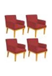 Kit 04 Poltronas Decorativa Para Sala De Estar Base Mel Beatriz W01 Suede Vermelho - Lyam Decor