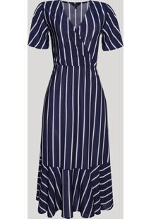 Vestido Feminino Midi Listrado Manga Curta Decote V Azul Marinho