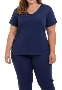 Pijama Longo Liganete Marinho Sepie (1052-Pl) Plus Size