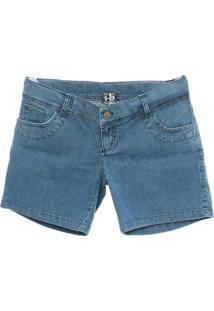 Shorts Jeans - Feminino-Azul