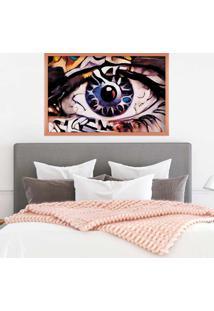 Quadro Love Decor Com Moldura Olhos Azuis Abstrato Rose Metalizado Médio