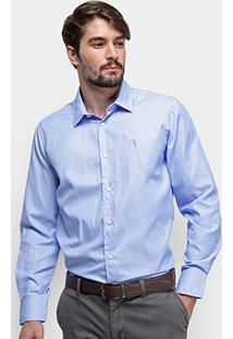 Camisa Manga Longa Aleatory Slim Fit Micro Textura Masculina - Masculino-Azul