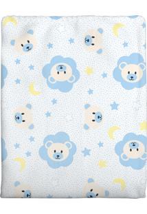 Cobertor Era Uma Vez Em Algodão Ursinho Estrela Azul Para Bebê 70 X 90Cm
