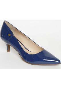 Scarpin Em Couro Com Recortes- Azul- Salto: 6Cmjorge Bischoff