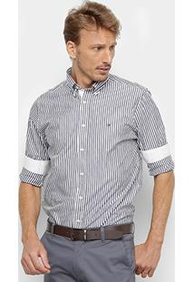 Camisa Manga Longa Tommy Hilfiger Masculina - Masculino-Marinho+Branco
