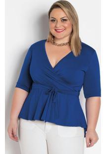 Blusa Royal Transpassada Com Amarração Plus Size