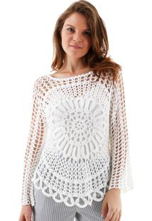 Blusa Aha Manga Longa Crochet Rendado Margarida Off- White
