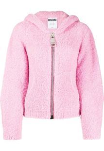 Moschino Jaqueta De Lã Com Capuz - Rosa