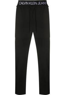 Calvin Klein Jeans Calça Cropped Com Ajuste No Cós - Preto