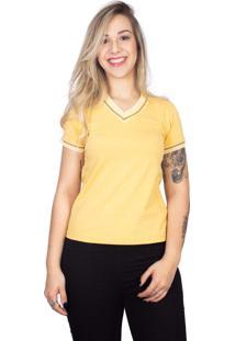 Camiseta 4 Ás Amarela Manga Curta Sanfonada