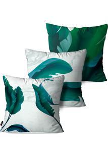 Kit Pump Up Com 3 Capas Para Almofadas Decorativas Folhas Verdes Estilo Pintura Abstrato 45X45Cm