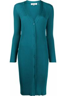 Dvf Diane Von Furstenberg Cardigan Canelado Longo Calla - Verde
