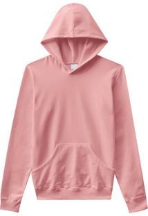 Blusão Rosa Com Capuz Em Moletom