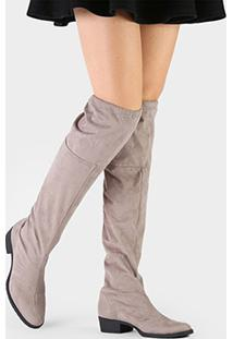 Bota Di Cristalli Over The Knee Flat - Feminino-Cinza
